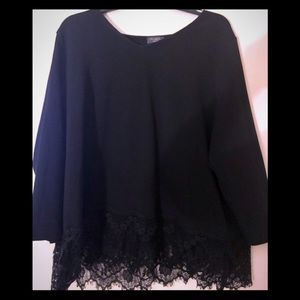 Limited Black Blouse with bottom scalloped lace